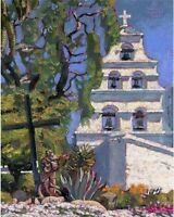 COLOR PRINT OF OIL PAINTING, CALIFORNIA MISSION #5