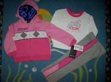 Reebok Outfit 3pc Set Jacket Shirt Pants Girls 3Toddler Follow Your Dreams