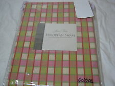 NEW Rose Tree Mariposa Euro European Pillow Sham with Flange- Plaid - NIP
