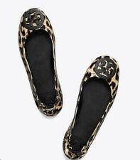 Tory Burch NEW Minnie Leopard Patent Leather Travel Ballet Flats Logo $228 5.5 6