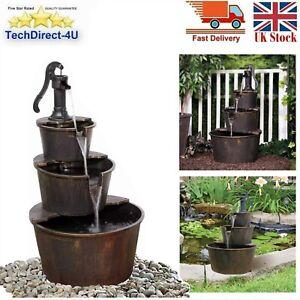 3 Tier Wooden Effect Barrel + Pump Cascading Water Fountain Garden Living Room