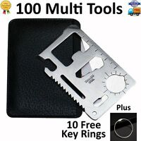 100 Lot 11 in 1 Multi Tools, wallet thin pocket survival credit card micro knife