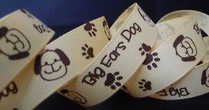 5/8 inch PUPPY Dog paw print pet canine K-9 pet brown grosgrain RIBBON - 1 yard