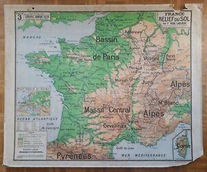 Ancienne carte scolaire Vidal Lablache, 1940/50, 3 - France relief