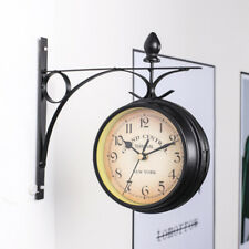 LN_ Vintage Household Double Sided Wall Mounted Bracket Clock Home Living Room