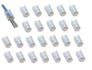 25 RJ45 CAT6 - Crimp Cable Connectors End pass through Ethernet modular Plug EZ