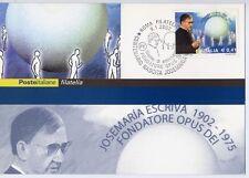 RELIGIONE Josemaria Escrivà Opus Dei annullo su francobollo 2002  bergoglio smom