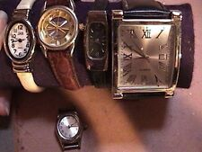 lot of 5 watches each different see list ladies some for parts or repair