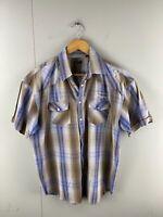Henley Men's Short Sleeve Pearl Snap Button Western Shirt Size L Blue Brown