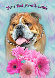 PERSONALISED BULLDOG MOTHERS DAY BIRTHDAY ANY OCCASION CARD Unique illus insert