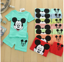 Children's Clothing Mickey Mouse Summer New Casual Baby Boy Girl Set Pajama Cute