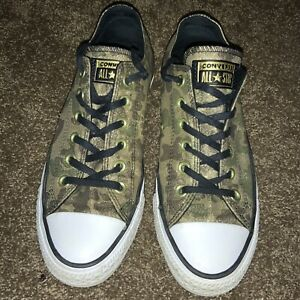 Converse Low Top All Star Women's Gold Khaki 8 Black Sparkly Camouflage