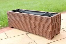 1 METRE LARGE WOODEN GARDEN TROUGH PLANTER IN DECKING PAINTED CUPRINOL DARK OAK