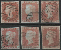 1841 SG8 1d RED BROWN (SHADES) PLATED 4 MARGINS GOOD/FINE USED SELECTION 8