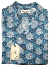 NWT $75 Mens Caribbean Camp Hawaiian Shirt Silk Blend Blue Floral Large L