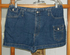 80's 90's No Excuses Blue Jean Shorts Women's 15/16 Flap Pockets
