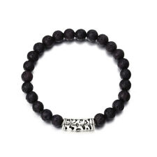 Men Fashion Black Lava Stone Gold&Silver Lion Beaded Cuff Charm Bangle Bracelet