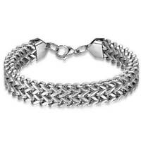 Mens Stainless Steel Bracelet Bike Chain Punk Gothic Biker Design Chrome Silver