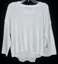 NWT WOMENS SZ L 12-14 JENNIFER LOPEZ WHITE SILVER LUREX & SEQUIN SHIMMER SWEATER