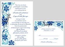 100 Personalized Custom Winter Snow Snowflake Bridal Wedding Invitations Set