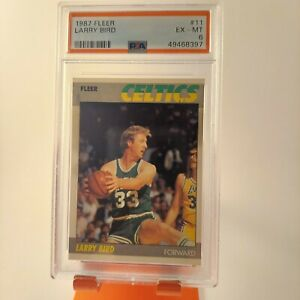 1987 Fleer 11 Larry Bird GRADED PSA 6 Celtics HOF