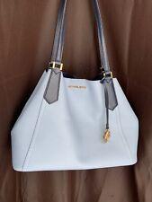Michael Kors Kimberly Bonded Leather Shoulder Tote Large Grab Bag in Pale Blue