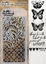 Tim Holtz Mixed Media Stencil & Stamp Pack - Butterflies, Flourishes, Filigree