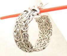 "1"" Anti-Tarnish Round Byzantine Hoop Earrings Real 925 Sterling Silver"