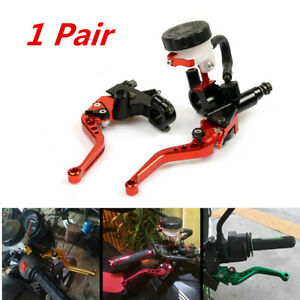 1 Pair 7/8in 22mm Motorcycle Adjustable Clutch And Brake Master Cylinder Levers