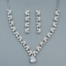 White Gold Plated Clear Zirconia CZ Wedding Necklace Earrings Jewelry Set 08827