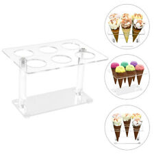 More details for acrylic 6 cone ice cream cone holder tray counter top display dessert stand rack