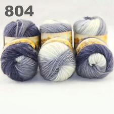 Sale LOT 6ballsx50gr NEW Chunky Hand-woven Colors Knitting Rainbow Wool Yarn 804