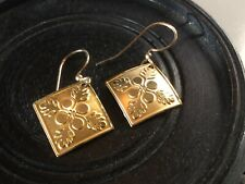 Vintage Hawaiian Genuine Square Quilt Dangle Earrings Gold Plated