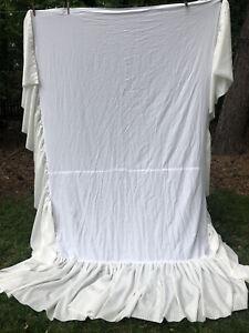 "CUSTOM F/Q Bed Skirt Dust Ruffle 22"" Drop White on White ROMANTIC LUXURY 56x82"