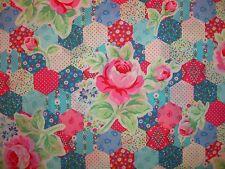 Flower Sugar 31128 70 Lecien Vintage Retro Rose Floral Hexagon Patchwork Blue