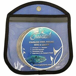 49 Strand American Wire 7x7 Stainless Leader + 10 Crimps - 30 ft 150 lbs Fishing