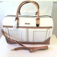 River Island White Stud Weekend Gym Shoulder Bag Cabin Case 717347