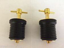 "DRAIN PLUGS BRASS SEACHOICE 2 PAC 18801 TWIST TYPE 1"" DRAINS MARINE BOAT PARTS"