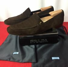Mens Brown Prada Suede Shoes Loafers Sz 9 UK 10 US Made In ITALY