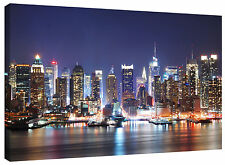 New York City Harbour at Night Canvas Picture