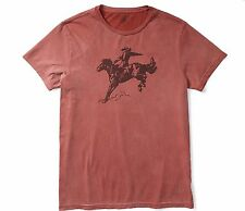 RRL Ralph Lauren Washed Old Rust COWBOY COTTON JERSEY GRAPHIC T SHIRT- M