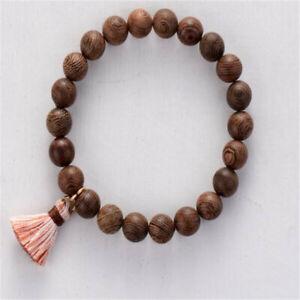 8mm Wood Wenge Beads Bracelet 7.5 inches Chakras Handmade Pray Reiki Cuff Men