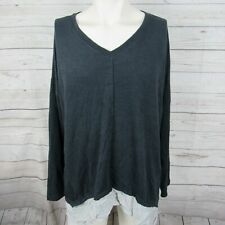 Style & Co 3X Top Womens Gray Layered Look Plus Size Shirt V Neck