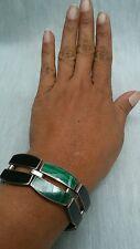vtg Taxco Mexico modernist sterling  950 silver malachite onyx  bracelet