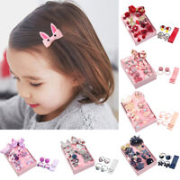 ALS_ 18Pcs Kids Girl Bowknot Pompom Hairpin Clip Ponytail Holder Rope Headwear D