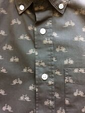 GAP Mens long sleeve button-down slim fit shirt NEW Size SM olive bicycle print