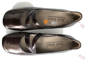 Josef Seibel Size 6 / 36 Comfort Shoes Patent Wedges Slip On. Deep Brown Shiny.