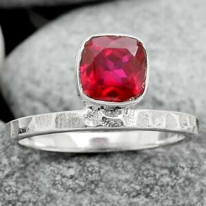 Pink Rubellite Simulated 925 Sterling Silver Ring s.8 Jewelry E256