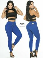 Colombian Fajas Jeans Blue High Rise Butt Lifter Levanta Cola Skinny Moldeadoras