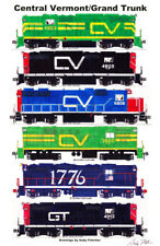 """Central Vermont Locomotives 11""""x17"""" Poster by Andy Fletcher signed"""
